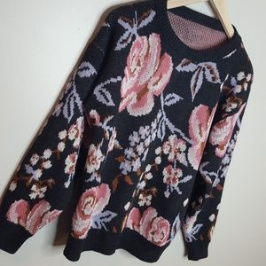 Vintage Pink and Grey Floral Sweater